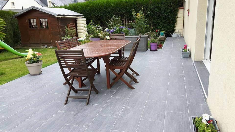 Carrelage sol gris moyen effet pierre